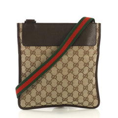 96d89267100 Gucci Vintage Web Crossbody Bag GG Canvas with Leather Brown 4225910