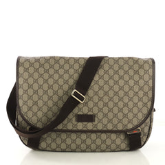 Gucci Messenger Buckle Bag GG Coated Canvas Large Brown 422599