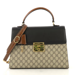 9e9b5acf0388 Gucci Padlock Top Handle Bag GG Coated Canvas and Leather Medium