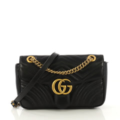 d7ff5259cd84 Gucci GG Marmont Flap Bag Matelasse Leather Small Black 422831