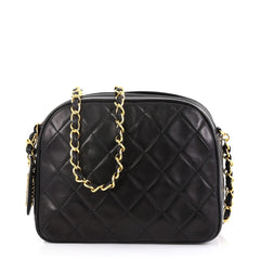 c584aaba24b3 Chanel Vintage Chain Camera Bag Quilted Lambskin Small Black 422852