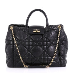 Christian Dior Milly La Foret Shopping Tote Cannage Quilt Black 422931