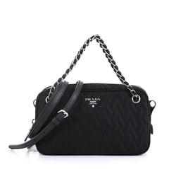 Prada Camera Bag Quilted Tessuto Small Black 422952