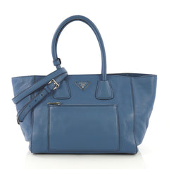 Prada Front Pocket Wing Convertible Tote Vitello Daino
