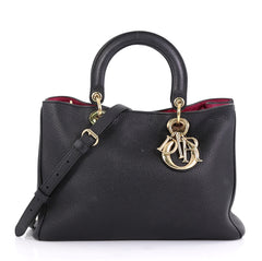 Christian Dior Diorissimo Tote Pebbled Leather Medium Black 423011