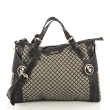 Gucci Crest Boule Convertible Satchel Diamante Canvas Large Brown 423042