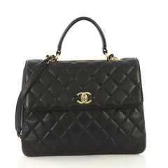 Chanel Trendy CC Top Handle Bag Quilted Lambskin Large Black 423071