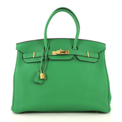 Hermes Birkin Handbag Green Togo with Gold Hardware 35 Green 423412