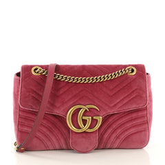 Gucci GG Marmont Flap Bag Matelasse Velvet Medium Pink 423431