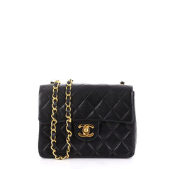 6f55fc4dc188 Chanel Vintage Square Classic Single Flap Bag Quilted Lambskin Mini