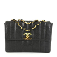 Chanel Vintage Flap Bag Vertical Quilt Caviar Jumbo