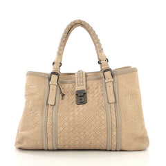 Bottega Veneta Roma Handbag Leather with Intrecciato Detail Medium