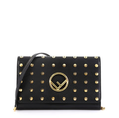 Fendi Kan I F Wallet On Chain Clutch Studded Leather