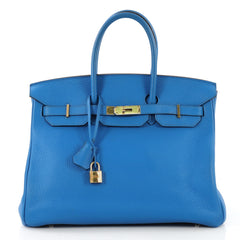 Hermes Birkin Handbag Blue Clemence with Gold Hardware 35 423661