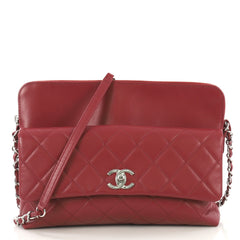 Chanel Zip Top Pocket Crossbody Bag Quilted Calfskin Small 423691