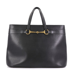 Gucci Bright Bit Convertible Tote Leather Large Black 423701