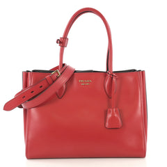 Prada Soft Bibliotheque Handbag City Calfskin Medium Red 423771