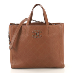 Chanel Model: Covered CC Tote Quilted Caviar Medium Brown 42396/10
