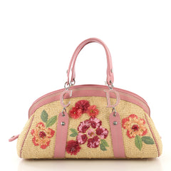 Christian Dior Detective Doctor Bag Floral Raffia Medium