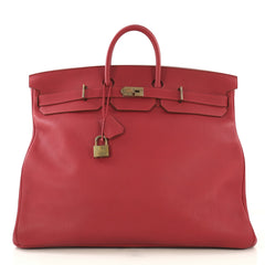 Hermes HAC Birkin Bag Red Fjord with Gold Hardware 55 - Rebag