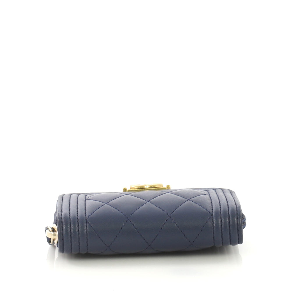 f6e1c9482497ac Chanel Boy Zip Coin Purse Quilted Lambskin Small Blue 4239643 – Rebag