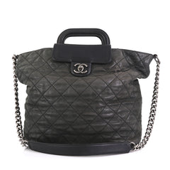 Chanel In The Mix Shopping Tote Quilted Iridescent Calfskin Large Black 4240013