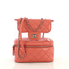 Chanel Zip Around Flap Bag Quilted Crumpled Calfskin and PVC Small Pink 4240018