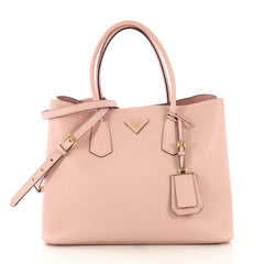 Prada Cuir Double Tote Saffiano Leather Large Pink 424073
