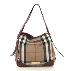 Burberry Canterbury Tote House Check Canvas Small Brown 424201