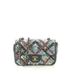 Chanel Mosaic Flap Bag Embellished Lambskin Small Green 424491