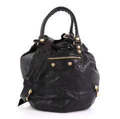 Balenciaga Pom Pon Giant Studs Bag Leather Black 424521