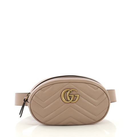 0006a53bf1d1 Gucci GG Marmont Belt Bag Matelasse Leather Neutral 424751 – Rebag