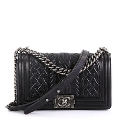 Chanel Model: Paris-Edinburgh Boy Flap Bag Celtic Knot Embossed Calfskin Old Medium Black 42488/1