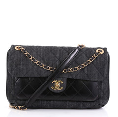 Chanel Front Pocket Flap Bag Quilted Denim with Calfskin 425165
