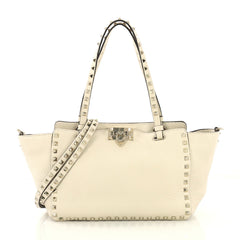 Valentino Rockstud Tote Pebbled Leather Small Neutral 425175