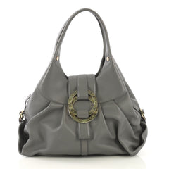 Bvlgari Chandra Hobo Leather Large Gray 425281