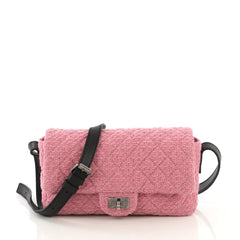 Chanel Easy Reissue Messenger Flap Bag Quilted Tweed Small