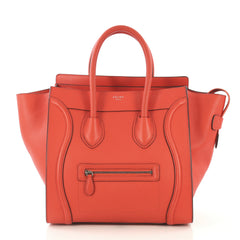 Celine Model: Luggage Handbag Grainy Leather Mini Orange 42582/1