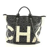 Chanel Logo Shopping Tote Printed Coated Canvas Large White 425881