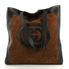 Gucci Ophidia Soft Open Tote Suede Large Brown 4259110