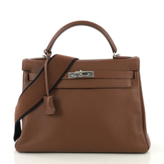 Hermes Kelly Amazone Handbag Brown Clemence with Palladium Hardware 32