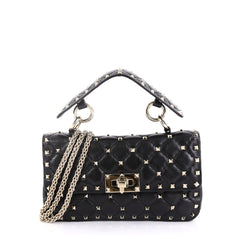 Valentino Model: Rockstud Spike Flap Bag Quilted Leather Small Black 42592/6