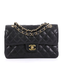 Chanel Model: Vintage Classic Double Flap Bag Quilted Caviar Small Black 42595/32