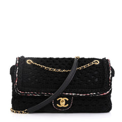 Chanel Model: Cayo Coco Flap Bag Crochet Medium Black 42595/3