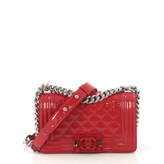 9edfb7d44280 Chanel Model: Boy Flap Bag Quilted Plexiglass Patent Small Red 42604/1