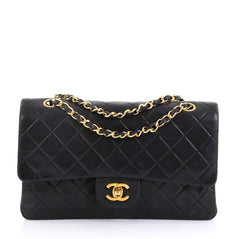 4866f6ae13f03d Chanel Vintage Classic Double Flap Bag Quilted Lambskin Medium
