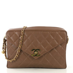 Chanel Model: Vintage Front Pocket Camera Bag Quilted Caviar Large Brown 42611/108