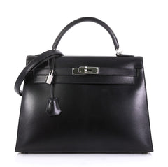 Hermes Kelly Handbag Black Box Calf with Palladium Hardware 32