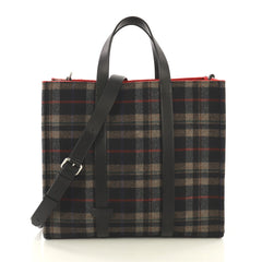 Fendi Convertible Open Tote Tartan Wool and Leather Large Multi color 42611120
