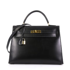 Hermes Kelly Handbag Black Box Calf with Gold Hardware 32 - Rebag